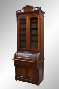 SOLD Victorian Walnut Cylinder Secretary Bookcase