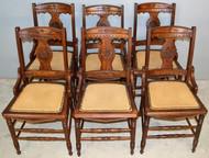 19621 Set of 6 walnut Victorian Dining Chairs Burl