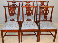 19632 Set of 6 Mahogany Chippendale Dining Chairs