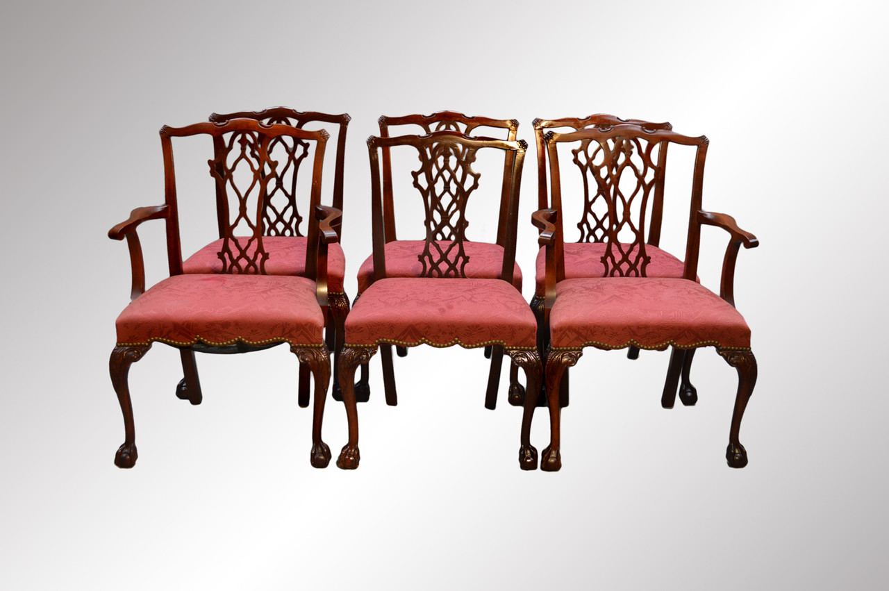 Sold Set Of Six Mahogany Chippendale Ball And Claw Dining Chairs Maine Antique Furniture