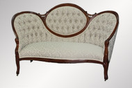 SOLD Antique Victorian Walnut Cameo Back Sofa