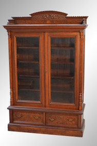 SOLD Antique Victorian Walnut Bookcase with Drawers