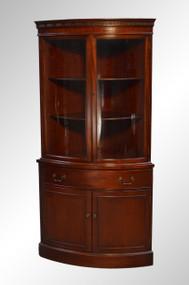 SOLD Mahogany Curve Glass Corner Cabinet