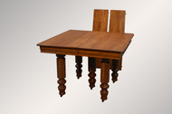 SOLD Antique Victorian Square Oak Dining Table with Barley Twist Legs & 2 Factory Leaves