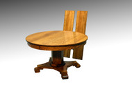 SOLD Antique Round Oak Dining Table with leaves