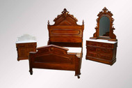 SOLD Victorian Three Piece Walnut Marble Top Bedroom Set- Civil War Era