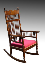 SOLD Antique Tall Pressback Oak Rocker