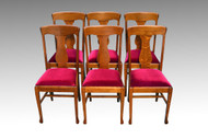 SOLD Antique Set of Six Tiger Sawn Claw Foot Dining Chairs