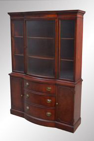 SOLD Mahogany Duncan Phyfe Curved Glass Breakfront China Cabinet by Drexel