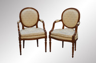 SOLD Pair of French Walnut Arm Chairs