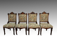SOLD Antique Victorian Burl Walnut Set of 4 Chairs