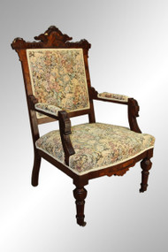SOLD Antique Victorian Burl Walnut Arm Chair