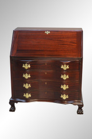 SOLD Mahogany Governor Winthrop Ox Bow Ball and Claw Desk