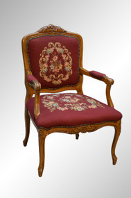 SOLD French Carved Needlepoint Arm Chair