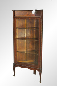 SOLD Antique Oak Victorian Corner China Cabinet