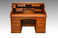 "SOLD Victorian Oak Lawyers bankers 60"" Raised Panel Roll Top Desk"