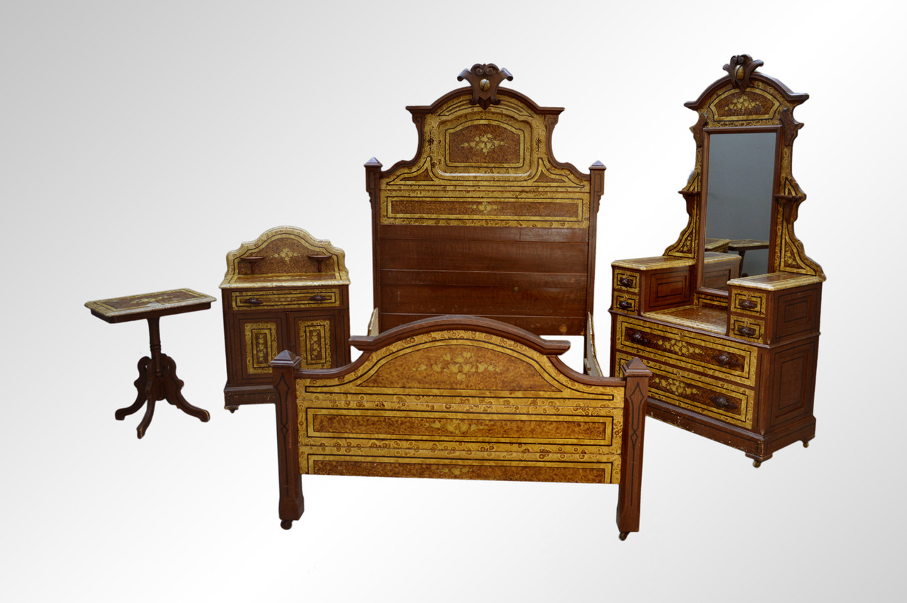 Sold Antique Victorian Hand Decorated Pine Bedroom Set Civil War