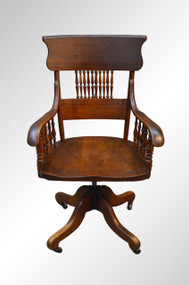 SOLD Antique Ash Pressback Office Chair-Original Finish Victorian Age