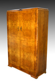 SOLD Antique Deco Burl Walnut Wardrobe