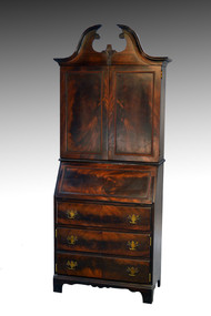 SOLD Mahogany Slant Top Bar Cabinet Disguised like a Desk