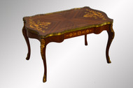 SOLD French Inlaid Coffee Table with Brass Trim