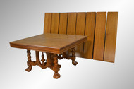 SOLD Victorian Oak Banquet Dining Conference Table w/ 8 Leaves OPENS- 12.5 Feet