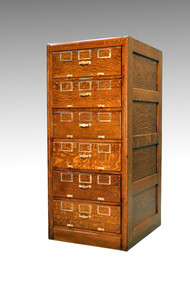 SOLD Antique Oak Unusual Six Drawer File Cabinet by Library Bureau
