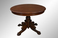 SOLD Mahogany Empire Acanthus Carved Round Center Table