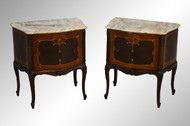 SOLD Pair of French Marble Top Night Stands