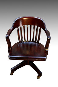 SOLD Mahogany Bankers Lawyers Swivel Tilting Office Chair