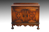 SOLD Carved Oak Server Bar Cabinet