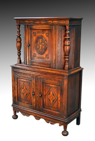 SOLD Carved Oak Bar Cabinet