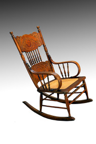SOLD Oak Larkin Ribbon Back Design Rocking Chair