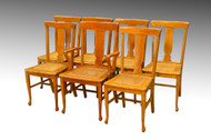 SOLD Set of Seven Tiger Sawn Oak Dining Chairs