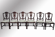 SOLD Set of Six Duncan Phyfe Hepplewhite Dining Chairs