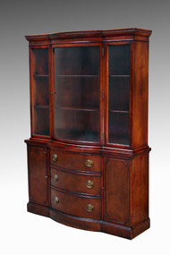 SOLD Mahogany Curved Door Breakfront China Cabinet by Drexel