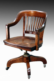 SOLD Tiger oak Lawyer's Curved Back Office Chair