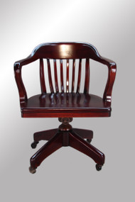 SOLD Mahogany Banker's / Lawyer's Swivel Tilt Office Chair