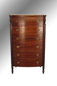 SOLD Antique Solid Mahogany Sheraton Cookie Corner Tall Chest