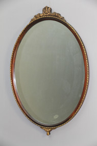 SOLD Antique Large Oval Carved Mahogany Wall Mirror
