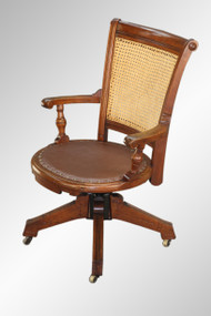 SOLD Antique Victorian Walnut Lawyer's Swivel Chair