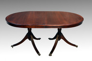 SOLD Mahogany Duncan Phyfe Oval Double Pedestal Dining Table 1950s