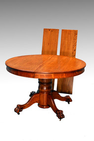 SOLD Antique Tiger Sawn Oak  4 Foot Round Split Base Dining Table w/2 Leaves