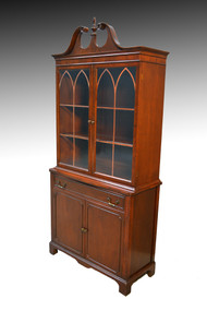 SOLD Mahogany Duncan Phyfe Step Back China Cabinet Closet 1940s