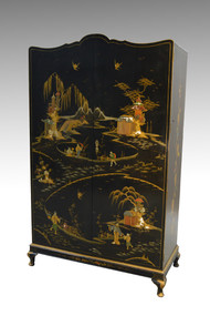 SOLD Black Decorated Chinese Wardrobe