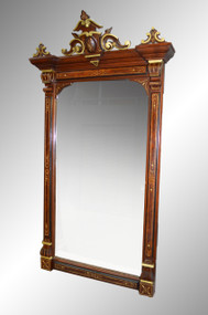 SOLD Antique Victorian Renaissance Gold Gilded Walnut Hall Mirror
