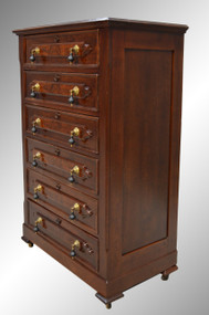 SOLD Antique Victorian Six Drawer Walnut Tall Chest Dresser