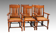 SOLD Antique Set of 6 Oak Dining Chairs by R.J. Horner
