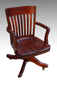 SOLD Antique Mahogany Bankers Lawyers Swivel Office Chair
