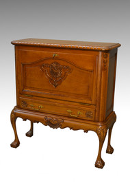 SOLD Oak Carved Chippendale Style Bar Cabinet